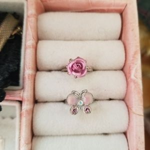 2 of toe pinky rings adjustable rose butterfly